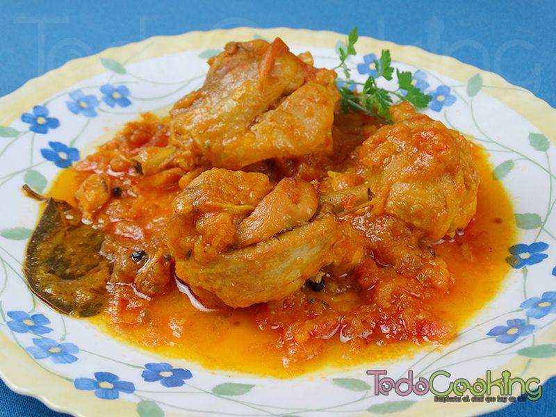 Pollo deprisa o pollo con salsa de tomates