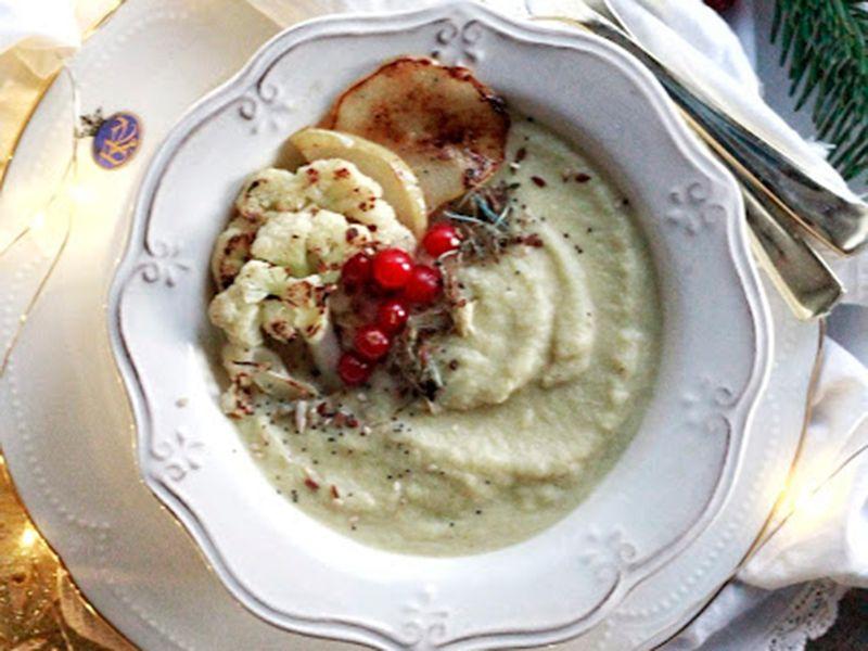 crema de coliflor y pera